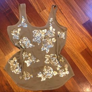 Floral sequin shell tank blouse